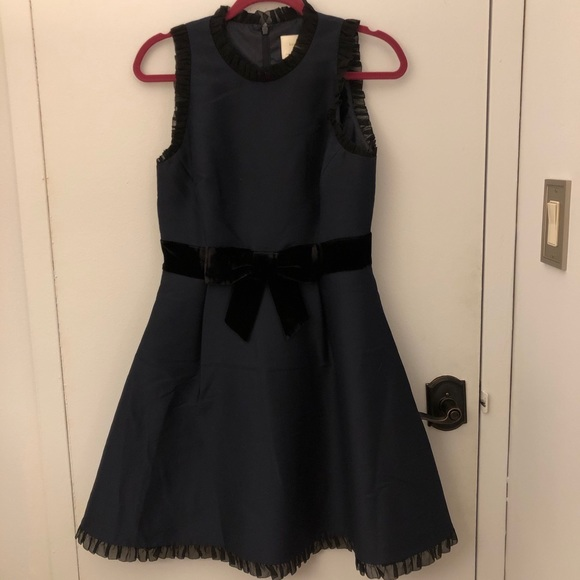 Navy dress with black velvet bow